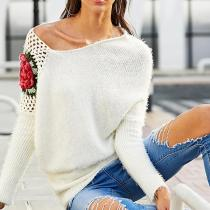 Round Neck Rose Flower Embroidery Knit Sweater