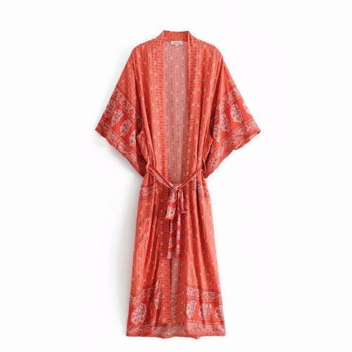 Boho Robe, Kimono Robe, Bohemian in Red