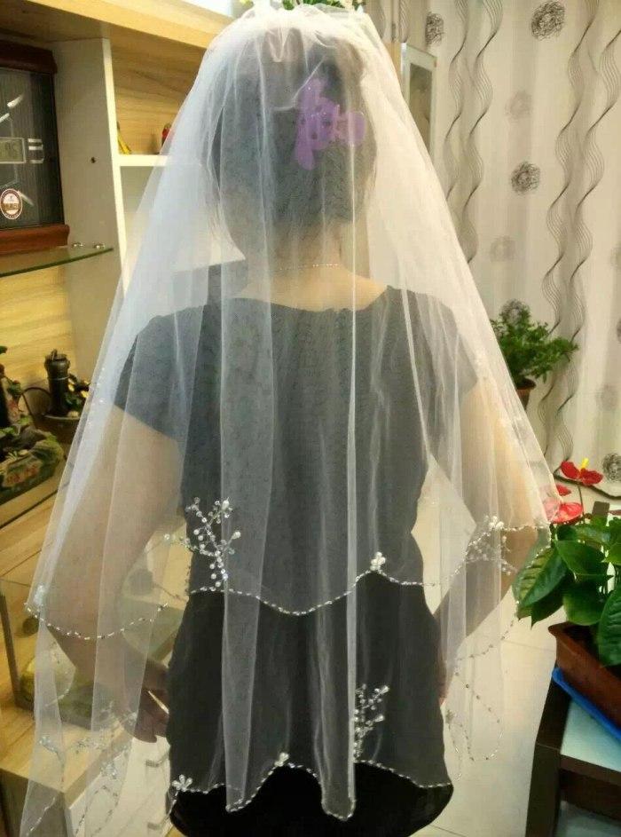 Women Bridal Veil Velos De Novia Free Shipping White/Ivory Tulle Short Wedding Veil With Combe Sequin Beaded 2 Layers