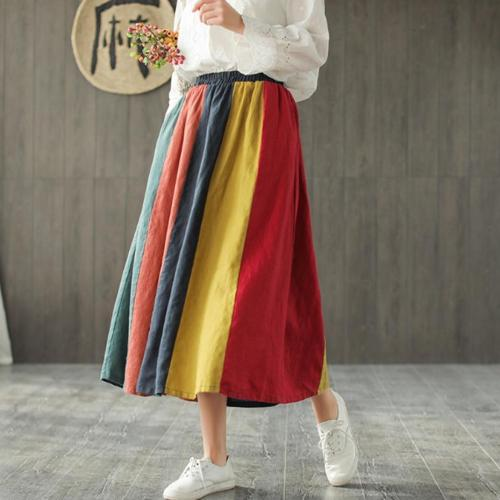 Color Contrast Vintage Pleated Linen Skirt