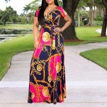Plus Size Commuting V Neck Short Sleeve Printed Colour Dress