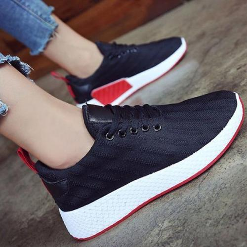 EBUYTIDE Flat Heel Fabric Date Sneakers