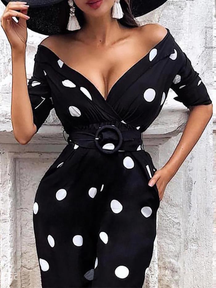 Sexy V Neck Polka Dot Belted Dress