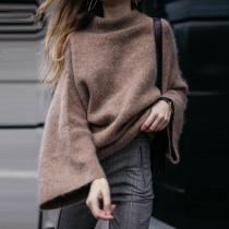 Casual Half High Collar Flared Sleeve Knit Sweater