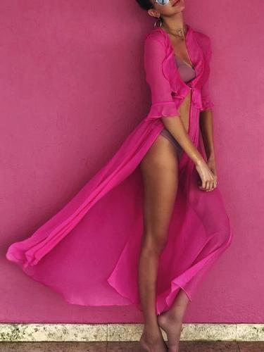 Sexy Half Sleeve Maxi Beach Dress Cover-up