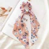 New Women Ribbon Flower Point Printed Scrunchies Elastic Fashion Hair Bands Headwear Girls Elegant Hair Accessories Hair Gum