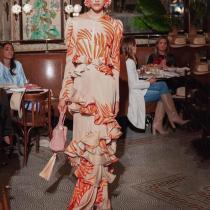 Long Sleeve High Collar Ruffled Dress