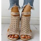 Casual Flat Rivet Detail Zipper Sandals