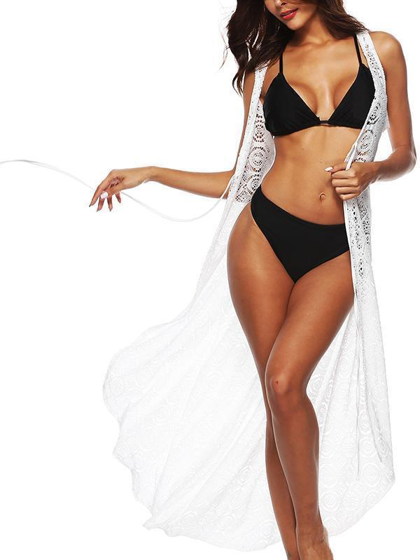 Fashion Solid Lace See-Through Cover-Up