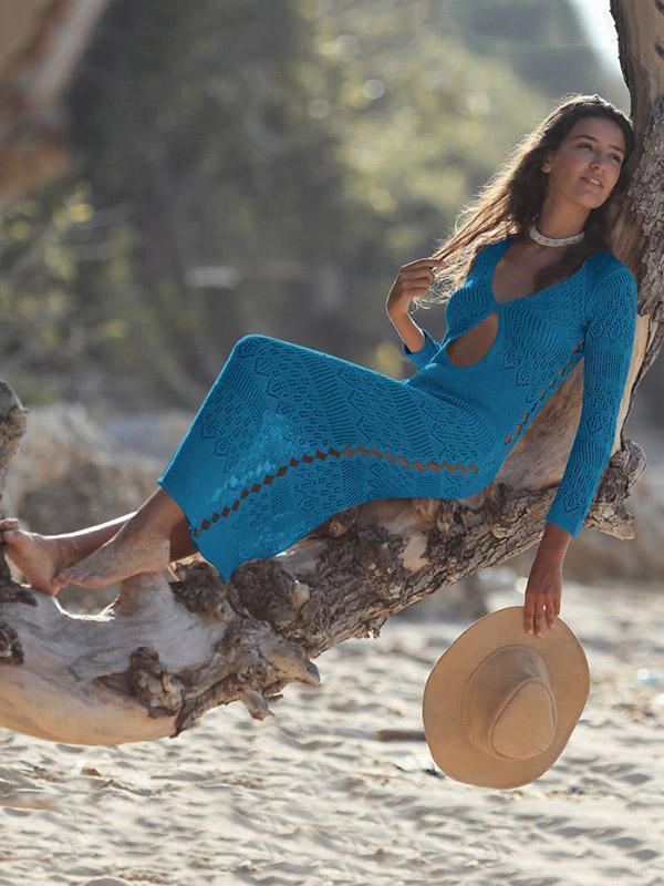 Hollow Sexy Knitting Beach Midi Dresses