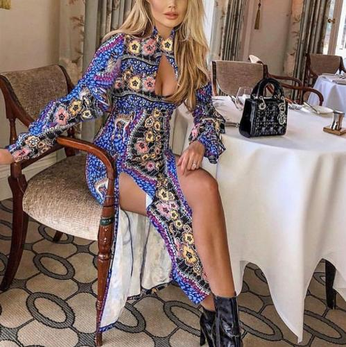 Bohemian Slit Hollow Out Printed Colour Long Sleeve Splicing Dress