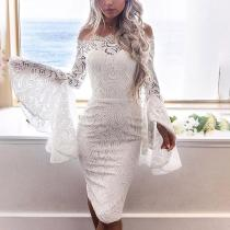 One-shoulder Strapless Long-sleeved Bodycon Dress