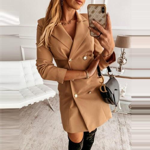 Fashion Double Breasted Blazer Mini Dress Women Autumn Long Sleeve Suit Button Elegant Slim Office Bodycon Party Dress Vestidos