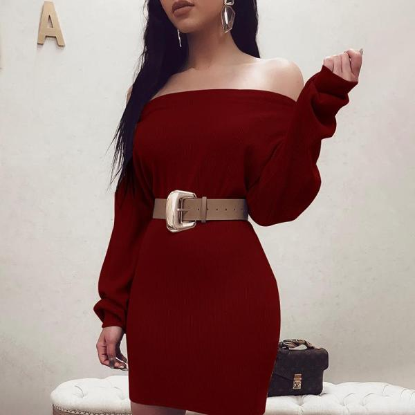 Sexy Long Sleeve Knitted Dress