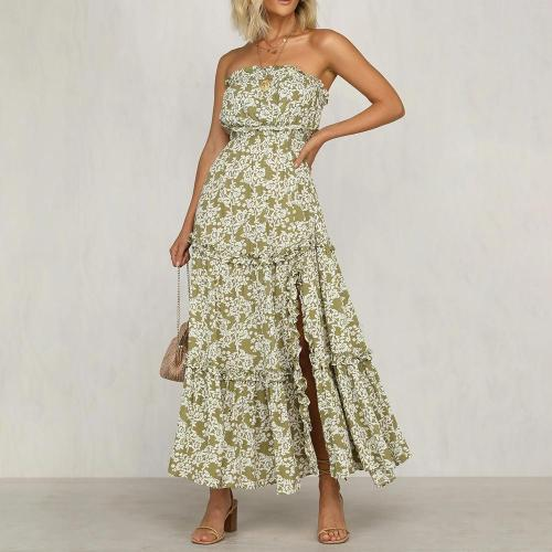 Fashion casual temperament printed tube top dress
