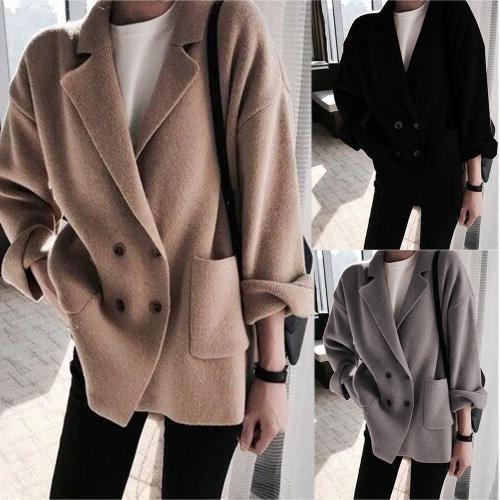 Lapel Coat Button Sweater Roll Sleeve Knitwear