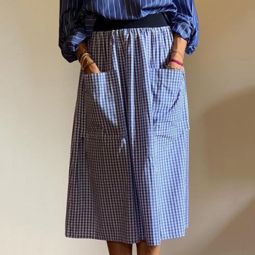 Casual plaid loose patch pockets midi skirt RY58