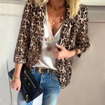 Fashion Leopard Print Turndown Collar Long Sleeve Blazer