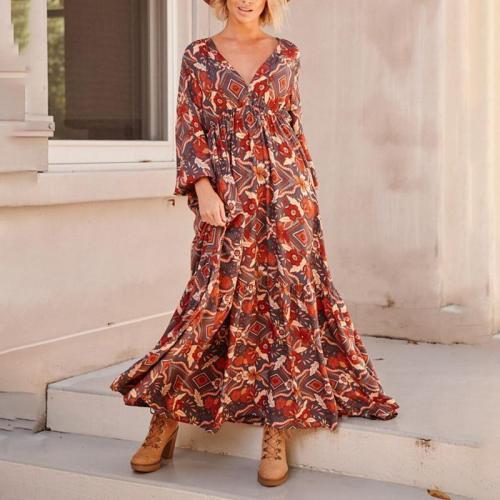 Casual V Neck Printed Colour Elastic Maxi Dress