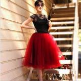 7 Layers Midi Tulle Skirt for Girls Fashion Tutu Skirts Women Solid Lace Ball Gown Party Petticoat Lolita faldas saia jupe