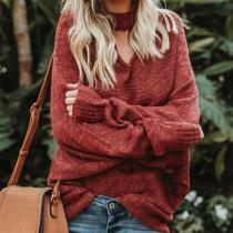 Oversize Bat Sleeve V-Neck Pullover Knit Sweater