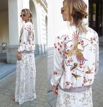 Fashion Cranes Begonia Printing White Short Jacket