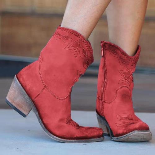 Retro Embroidery Zipper Ankle Boots