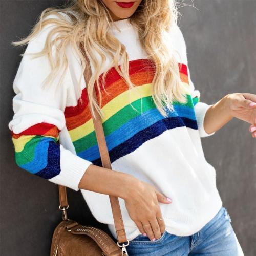 Fashion Six-Color Rainbow Striped Jacquard Bag Sweater