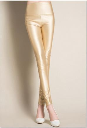 Thick High Waist Pu Skinny Pencil Slim Leggings