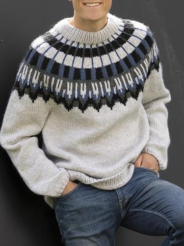 Light grey round neck Icelandic striped sweater TT004