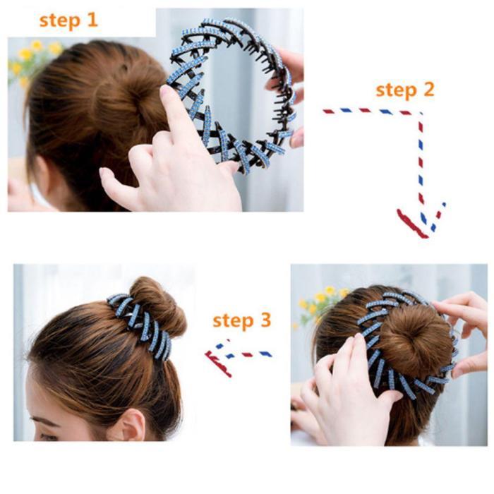 Fashion Crystal Bird's Nest Hair Clips Headwear Woman Hair Ponytail Holder 1PC Curler Roller Headwear Hair Device Girls 4 Colors