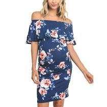 Ruffle Maternity Dresses Off Shoulder Pregnancy Dresses Ruffle Shoulderless Women Bodycon Dress Summer Pregnant