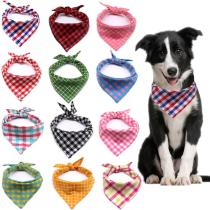 1pcs Dog scarf Plaid Style Puppy Cat Dog Bandana/Bibs Cotton Washable Bandana Dog Accessories for Small Dog Grooming Products