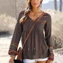 Casual V-neck Print With Bandwidth Loose Long-sleeved Shirt