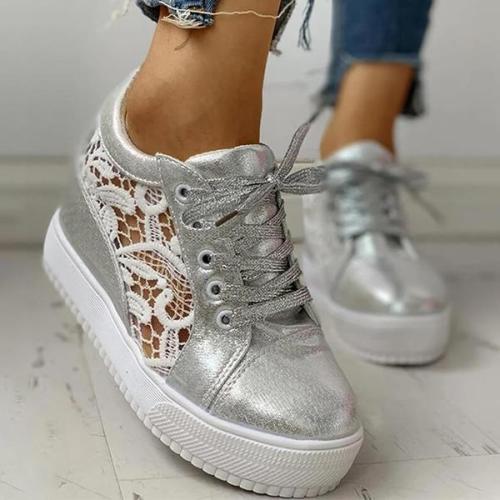 EBUYTIDE Women Lace Height Increasing Wedge Sneakers