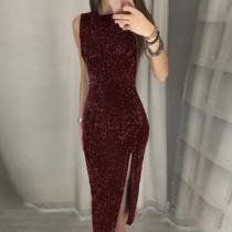 Fashion Sexy Irregular Sequin Split Round Neck Dress