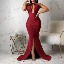 Fashion Off-the-shoulder Slit Deep V Evening Dress