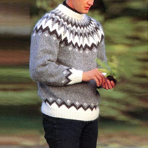 Grey Casual Icelandic Knit Sweater TT004