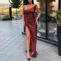 Sexy Sloping Shoulder Sleeveless Slit Shinning Floor-Length Dress