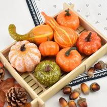 50PCS Simulation Pumpkin Maple Pine Cone Crafts Golden Autumn Set Halloween Thanksgiving DIY Decoration Pumpkin Props