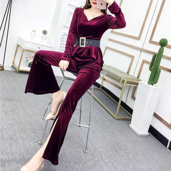 Fashion V Neck Velvet Top And High-Waist Slit Pants