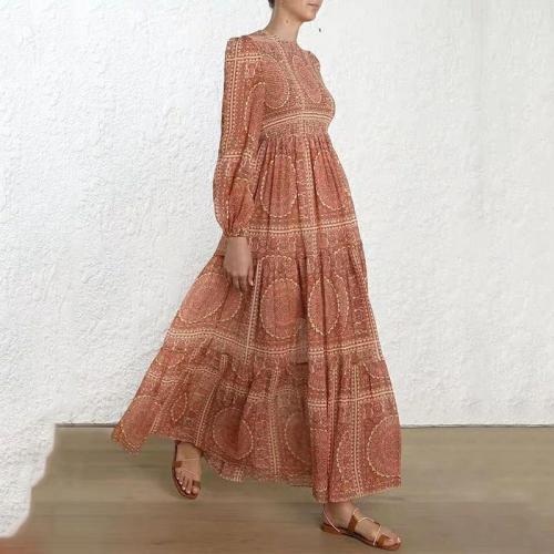 Boho Round Neck Long Sleeve Floral Pattern Dress