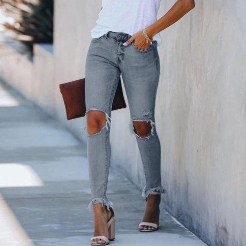 Jeans Fashion Women'S Ripped Mid Waist Pencil Feet Jeans