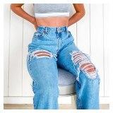 Women Casual Straight Leg High Waist Loose Fitting Jeans