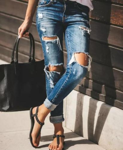 woman ripped fashion trendy stretch slim denim casual pencil pants