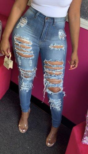 High Waist Ripped  Fashion Trendy Stretch Casual Denim Pencil Pants