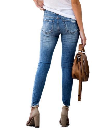 Fall New Retro Mid-Waist Ripped Slim Skinny Fashion Casual Stretch Jean