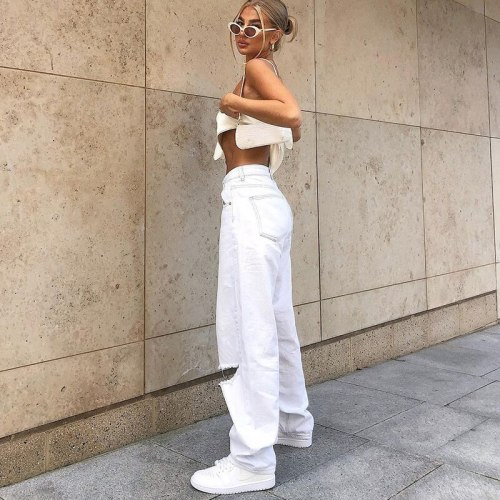 Women's Loose Vintage Wide Leg Hole White Solid Color Casual Trousers