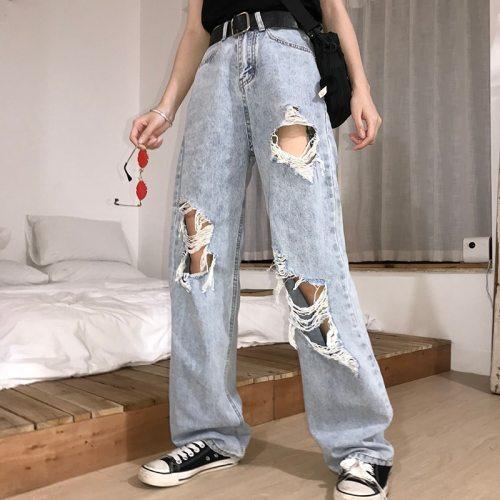 New High Waist Ripped Women's hip hop Loose Jeans