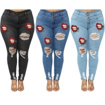 New High Waist  For Women Fashion Red Lips Printed Ripped Denim Pants